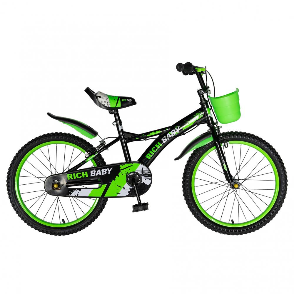 Bicicleta Rich Baby T2004C roata 20 C-Brake 7-10 ani negruverde