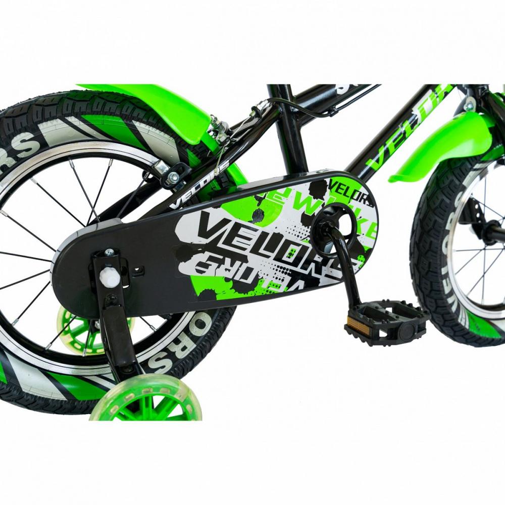 Bicicleta copii 18 Velors V1801A C-Brake verdenegru si roti ajutatoare