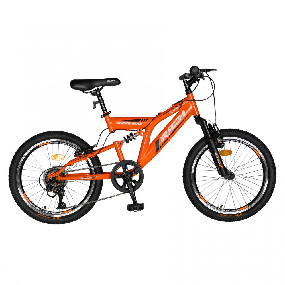 Bicicleta copii 20 inch Rich Alpin R2049A 6 viteze tip frana V-Brake portocaliunegru 7-10 ani