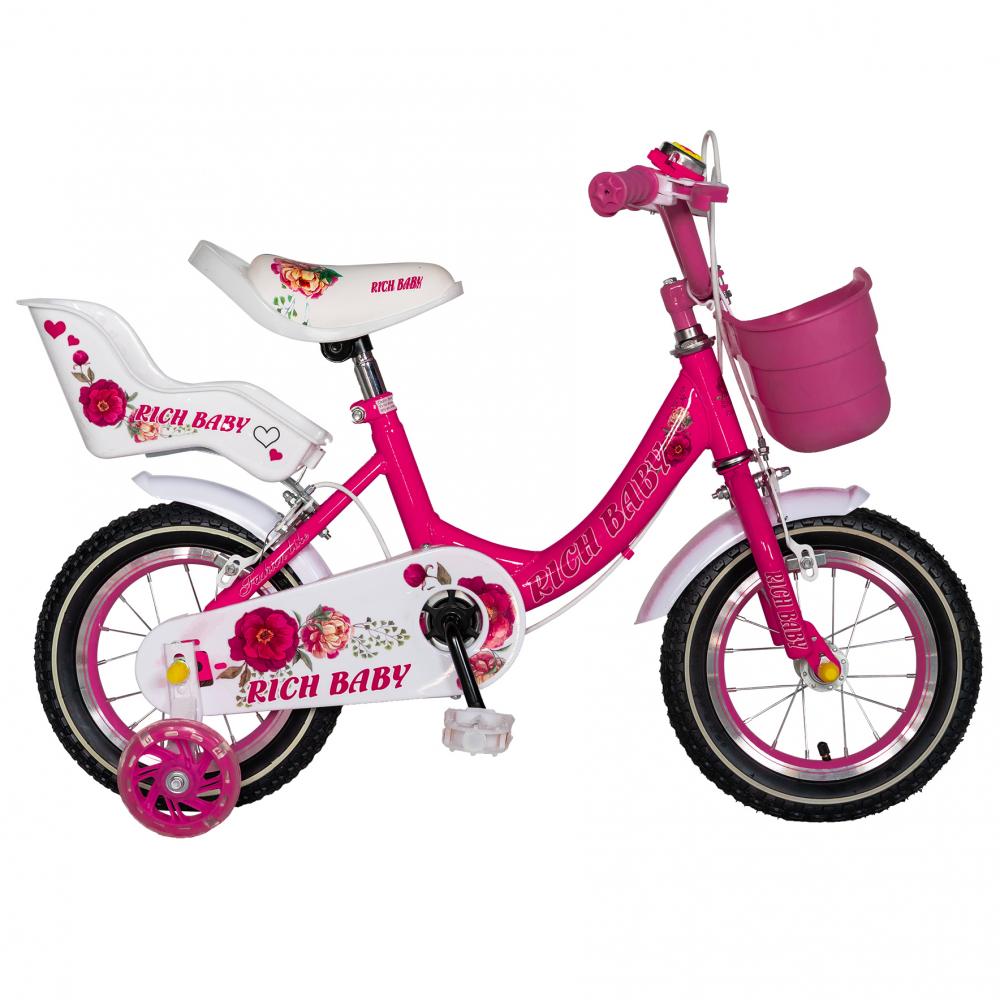 Bicicleta fete Rich Baby T1605C roata 16 C-Brake roti ajutatoare 4-6 ani fucsiaalb