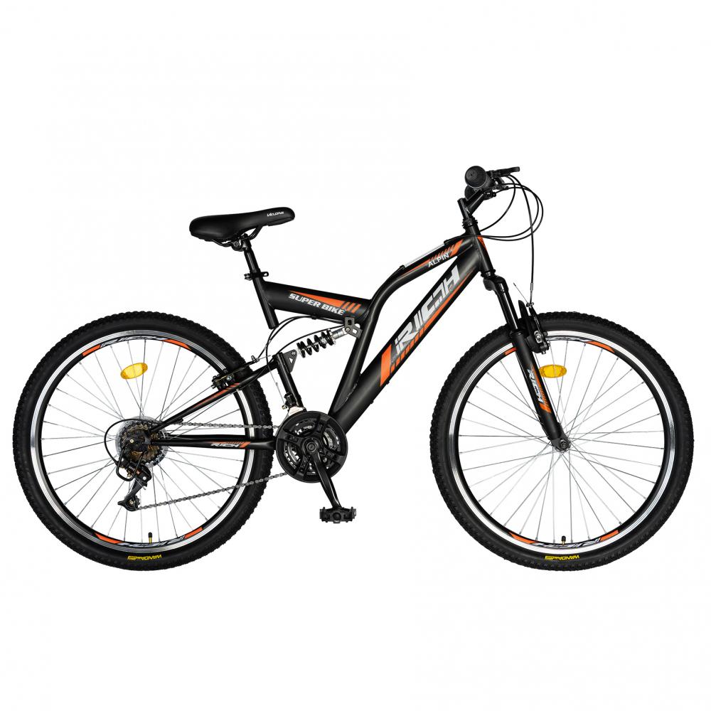 Bicicleta munte dubla suspensie Rich R2449A roata 24 frana V-Brake 18 viteze negruportocaliu