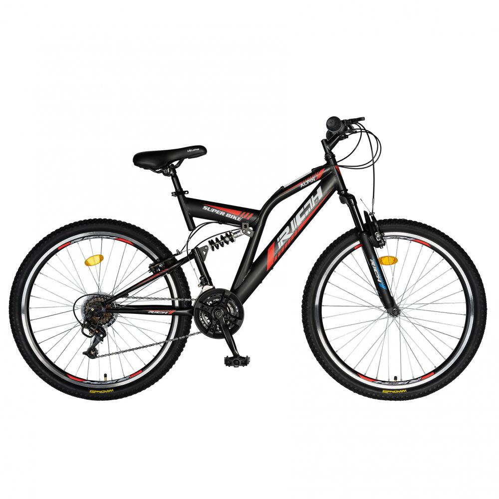 Bicicleta munte dubla suspensie Rich R2649A roata 26 frana V-Brake 18 viteze negru rosu