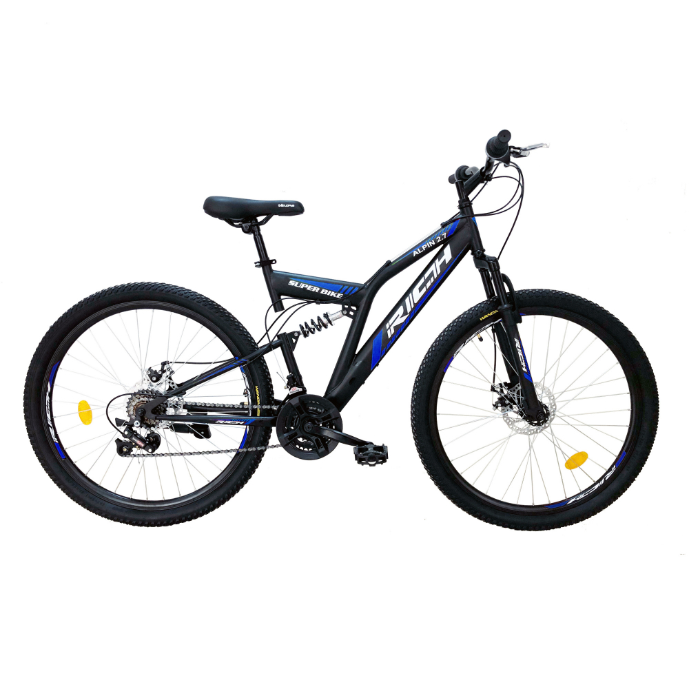 Bicicleta munte dubla suspensie Rich R2750D roata 27.5 frana disc 18 viteze negrualbastru