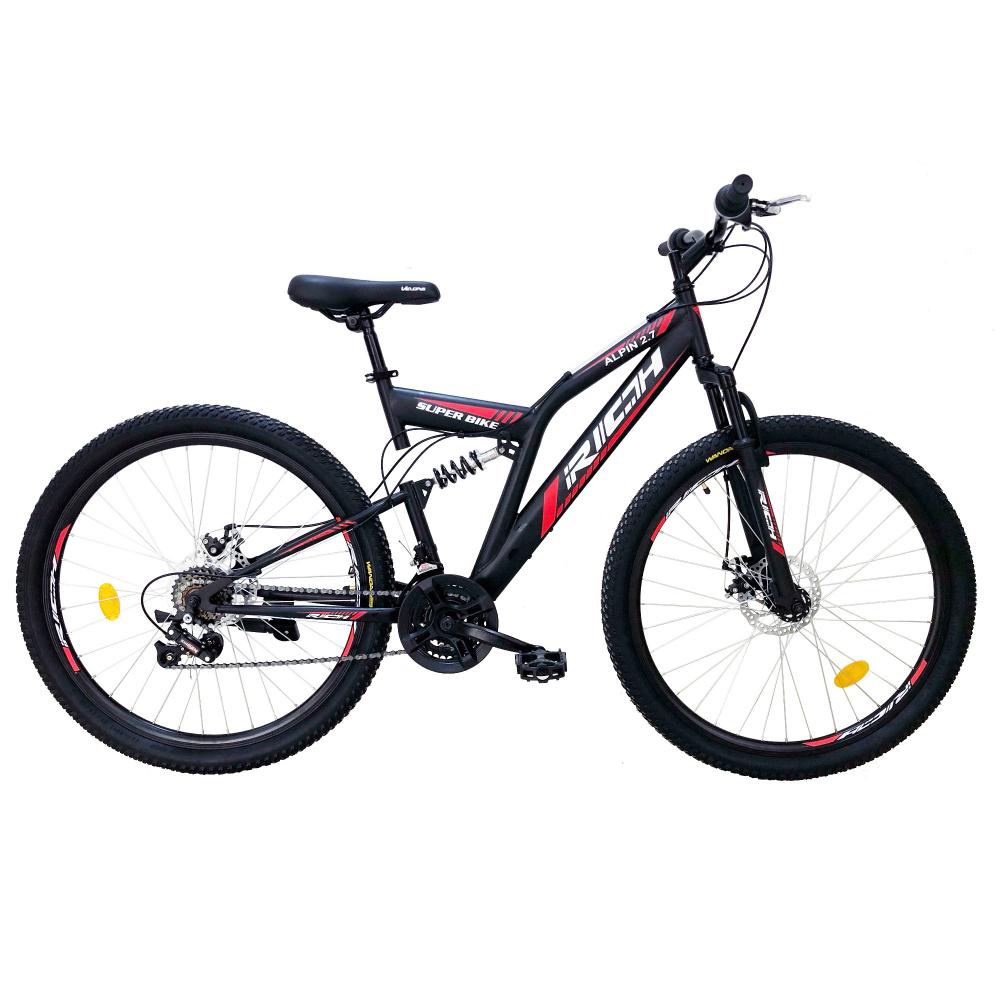 Bicicleta munte dubla suspensie Rich R2750D roata 27.5 frana disc 18 viteze negrurosu