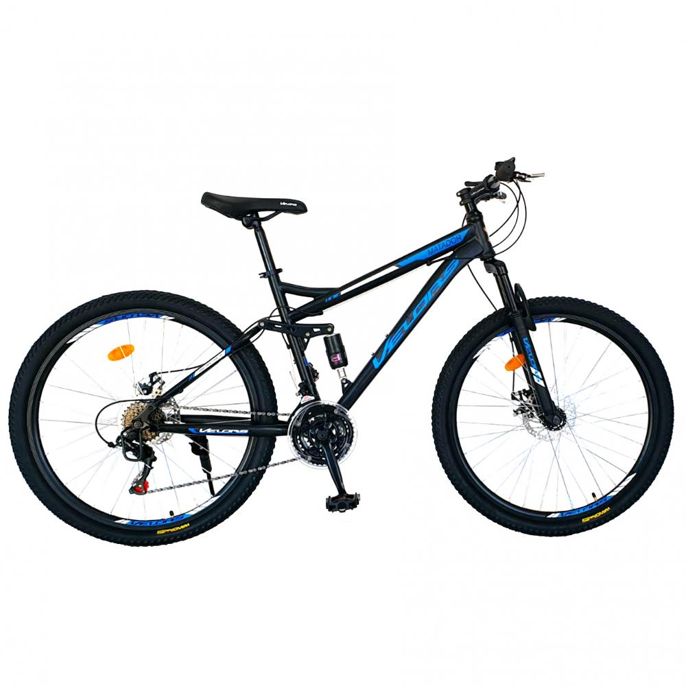 Bicicleta munte dubla suspensie Velors V2660D roata 26 frana disc 18 viteze negrualbastru