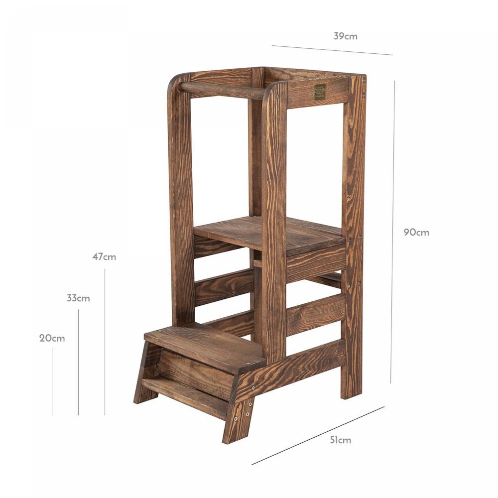 Inaltator multifunctional ajutor de bucatarie MeowBaby lemn maro inchis imagine