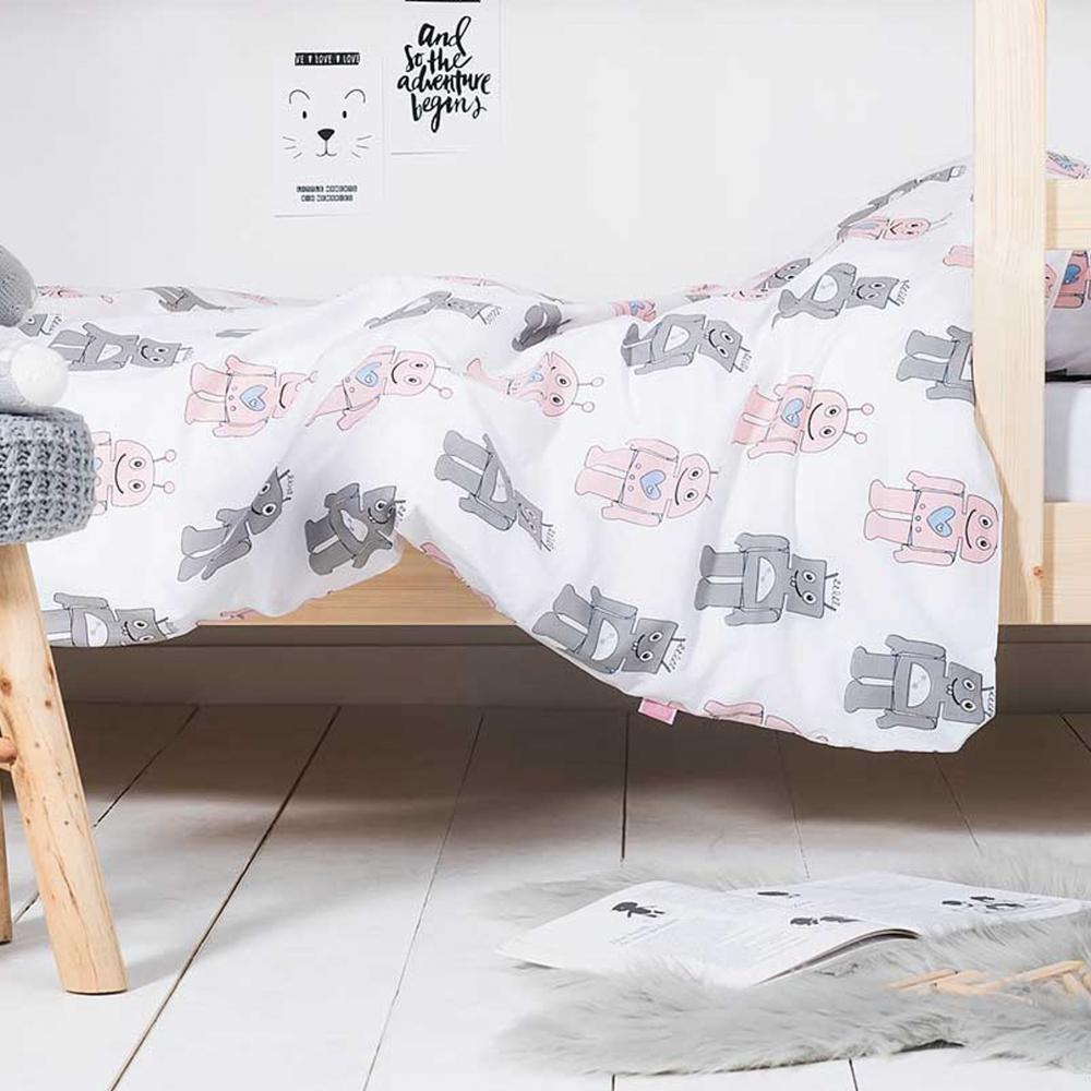 Lenjerie pat copii Robots 140x200 cm bumbac roz