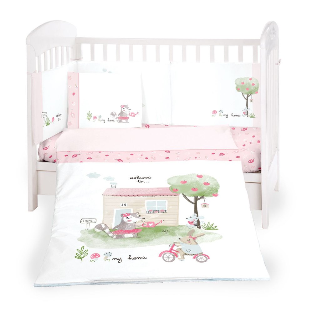 Lenjerie patut cu 6 piese si protectii laterale 70x140 cm My home