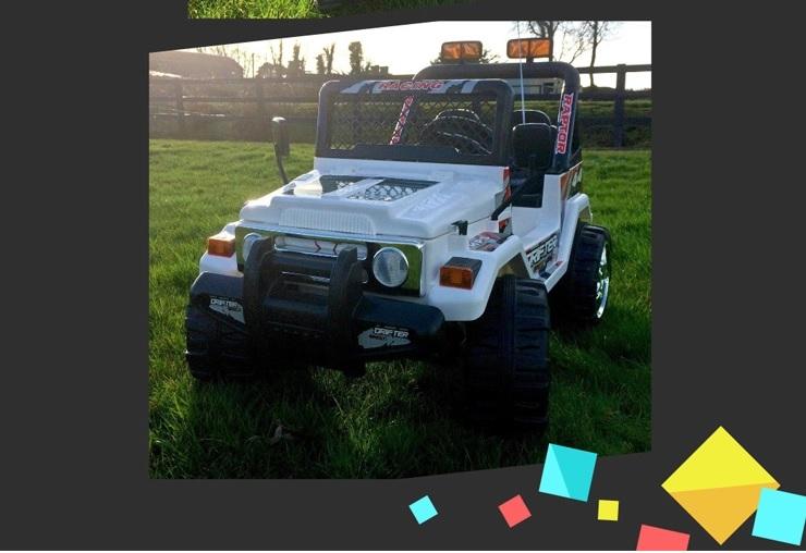 Masinuta electrica cu doua locuri si roti din plastic Drifter Jeep 4x4 White