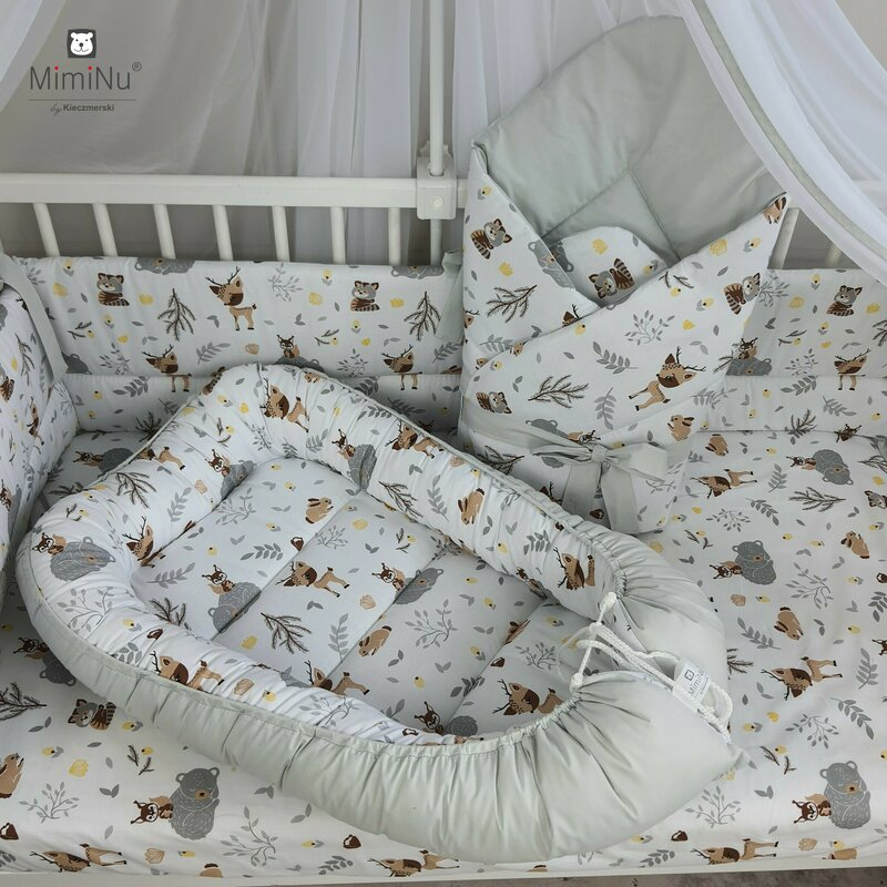 Cosulet bebelus pentru dormit Baby Cocoon 90x50 cm Forest Friends GreyBeige MimiNu