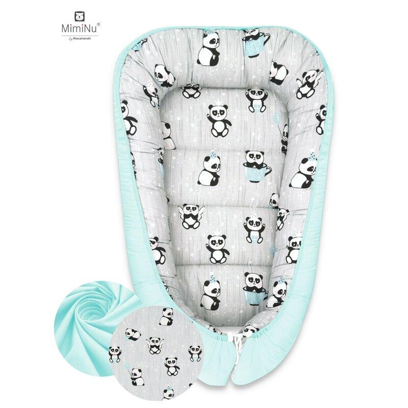 Cosulet bebelus pentru dormit Baby Cocoon 90x50 cm Panda Happy DayMint MimiNu