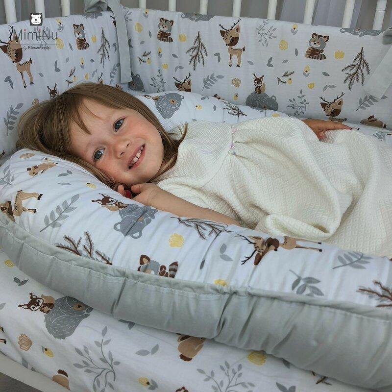 Cosulet bebelus pentru dormit Baby Nest 105x66 cm ForestGrey MimiNu imagine