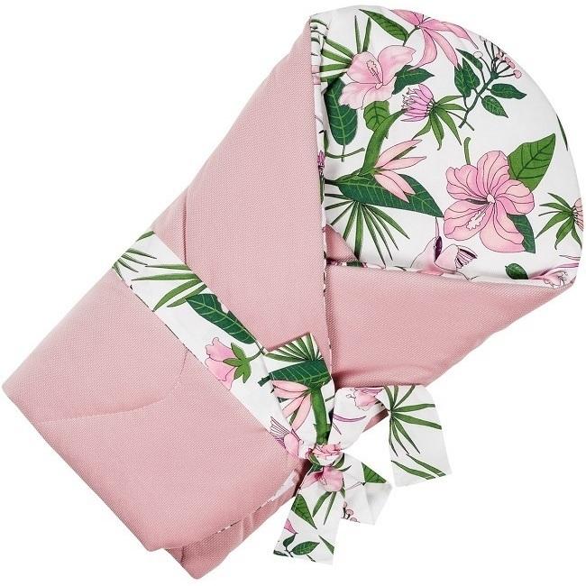 Paturica de infasat multifunctionala Velvet Infantilo IF19174 pink flowerroz