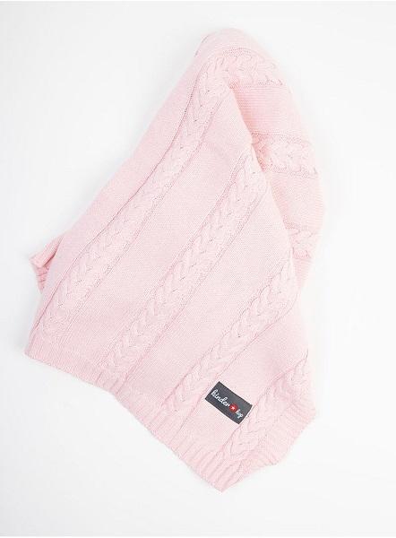 Paturica tricotata pentru bebelusi 90x65 cm Pink