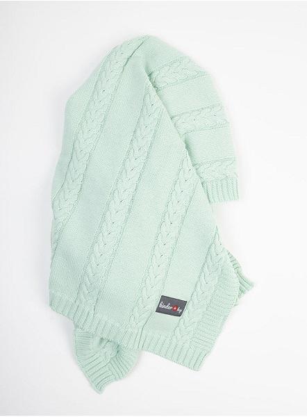 Paturica tricotata pentru bebelusi 90x65 cm Turqouise