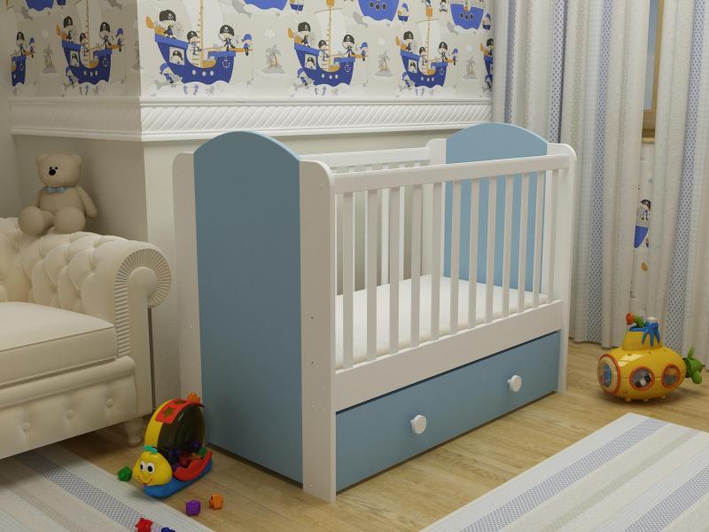 Patut cu sertar Happy cu leganare alb-albastru 0121PE imagine