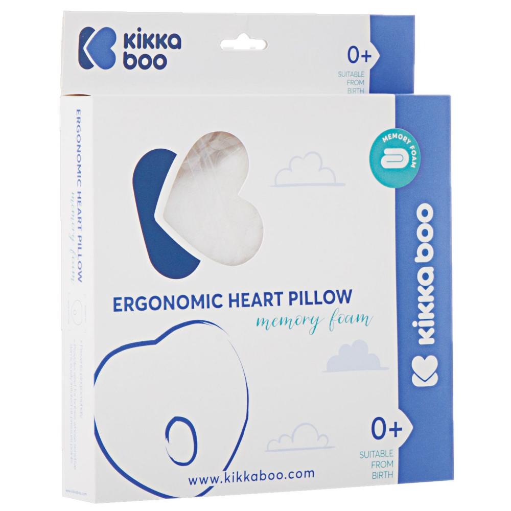 Perna pentru formarea capului KikkaBoo cu spuma de memorie Velvet Heart Grey