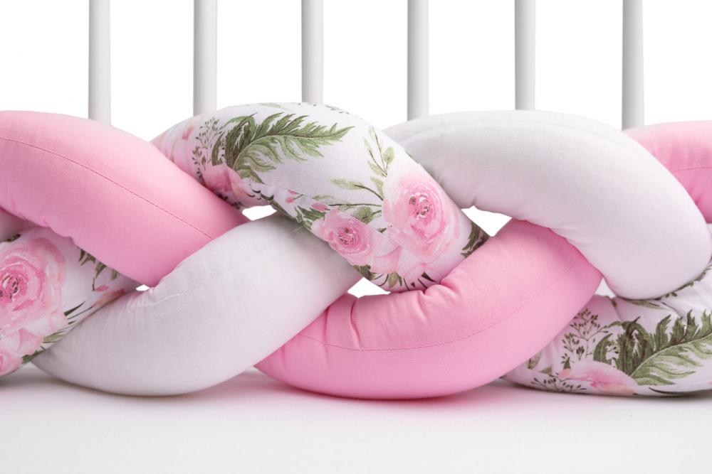 Protectie interioara pentru patut Sensillo 210 cm floricele roz