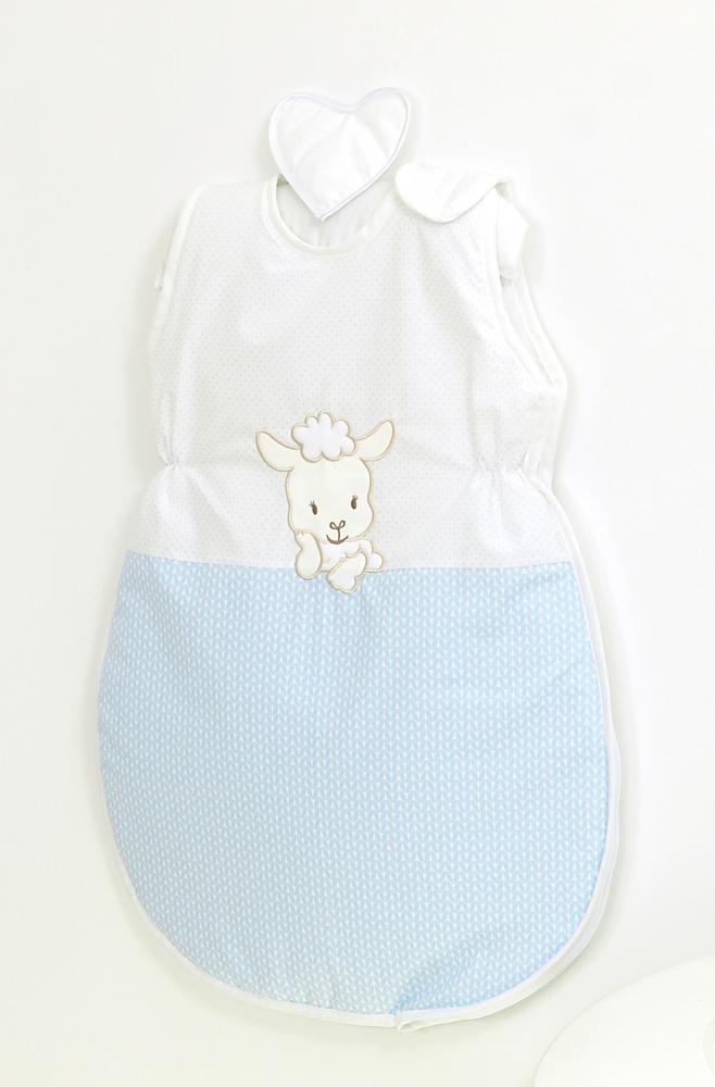 Sac de dormit din bumbac cu broderie pentru bebelusi Oita Blue 86 cm