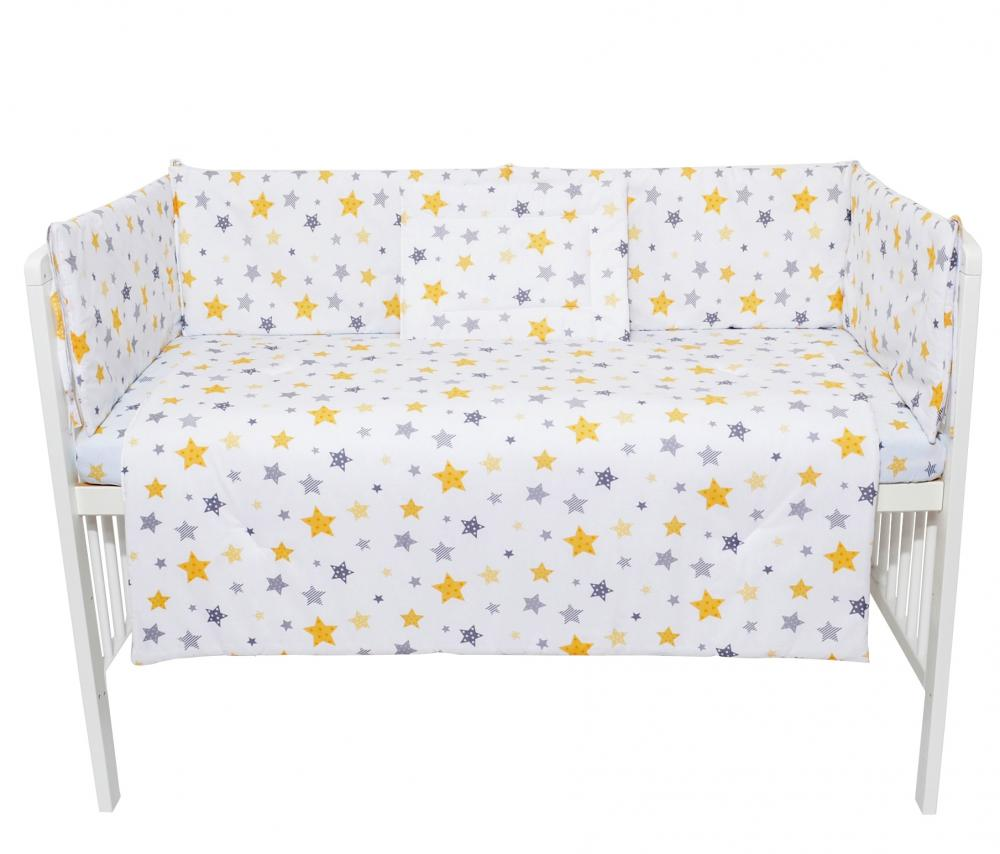 Set lenjerie 4 piese Mini Cot Yellow and Grey Stars white