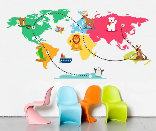 Stickere perete copii Lumea ca o Calatorie 110 x 53 cm