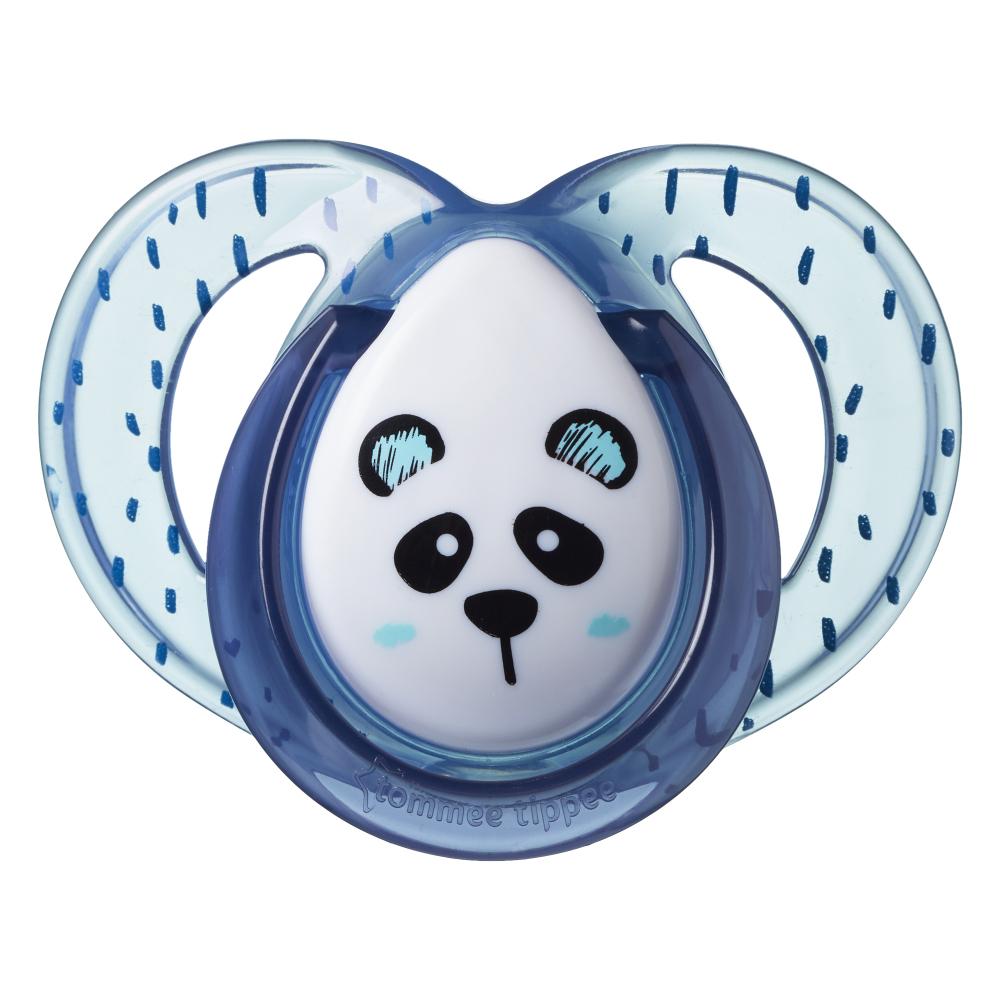 Suzete ortodontice Tommee Tippee Anytime 6-18 luni Ursuleti Panda AlbastruAlb