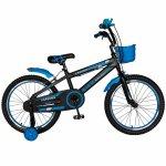 Bicicleta Rich Baby T2002C roata 20 C-Brake roti ajutatoare 7-10 ani negru/albastru