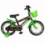 Bicicleta baieti Rich Baby R14WTB 14 inch cu roti ajutatoare 3-5 ani negru/verde