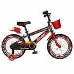 Bicicleta baieti Rich Baby R16WTB 16 inch cu roti ajutatoare 4-6 ani negru/rosu