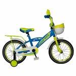 Bicicleta baieti Rich Baby T1603C 16 inch V-Brake cu roti ajutatoare 4-6 ani albastru/galben