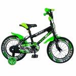 Bicicleta copii 18 Velors V1801A C-Brake verde/negru si roti ajutatoare
