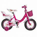 Bicicleta fete Rich Baby T1205C 12 inch C-Brake cu roti ajutatoare 2-4 ani fucsia/alb