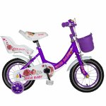 Bicicleta fete Rich Baby T1205C 12 inch C-Brake cu roti ajutatoare 2-4 ani mov/alb