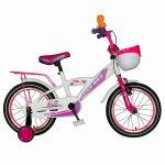 Bicicleta fete Rich Baby T1603C 16 inch V-Brake cu roti ajutatoare 4-6 ani alb/roz