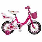 Bicicleta fete Rich Baby T1605C roata 16 C-Brake roti ajutatoare 4-6 ani fucsia/alb