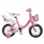 Bicicleta fete Rich Baby T1605C roata 16 C-Brake roti ajutatoare 4-6 ani roz/alb