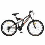Bicicleta munte dubla suspensie Rich R2449A roata 24 frana V-Brake 18 viteze negru/portocaliu