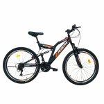 Bicicleta munte dubla suspensie Rich R2649A roata 26 frana V-Brake 18 viteze negru / portocaliu