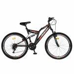 Bicicleta munte dubla suspensie Rich R2649A roata 26 frana V-Brake 18 viteze negru / rosu