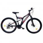 Bicicleta munte dubla suspensie Rich R2750D roata 27.5 frana disc 18 viteze negru/rosu
