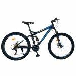 Bicicleta munte dubla suspensie Velors V2660D roata 26 frana disc 18 viteze negru/albastru
