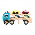 Camion trailer cu 4 masini din lemn Ecotoys TL26046