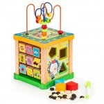 Cub educational din lemn cu tabla Ecotoys HM015473
