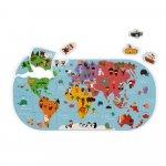 Jucarie de baie Puzzle harta lumii 28 de piese si 4 vehicule din spuma Janod J04719