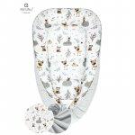 Cosulet bebelus pentru dormit Baby Cocoon 90x50 cm Forest Friends Grey/Beige MimiNu