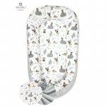 Cosulet bebelus pentru dormit Baby Nest 105x66 cm Forest Friends Grey/Beige MimiNu