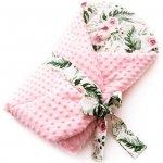Paturica de infasat multifunctionala Minky Infantilo IF19043 in garden/roz