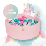 Piscina uscata cu 250 bile 7 cm MeowBaby Unicorn Set 90x30 cm Roz Pastel