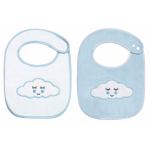 Set 2 bavete din velour Sleepy Cloud Blue