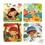 Set de 4 puzzle-uri Anotimpuri 6-9-12-16 piese Janod J02658